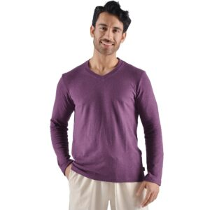 Men's Urban Hemp Long Sleeve V-Neck Top